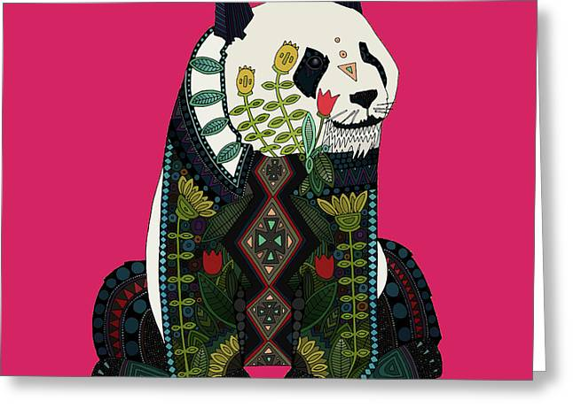 Panda Ochre Greeting Card by Sharon Turner