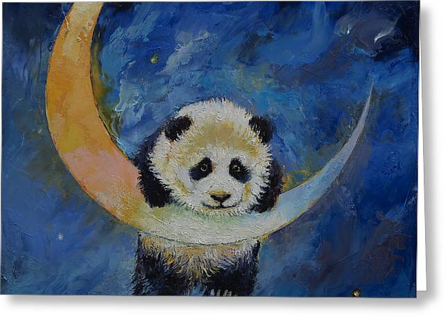 Panda Stars Greeting Card by Michael Creese