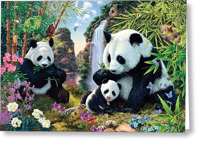 Panda Valley Greeting Card by Steve Read