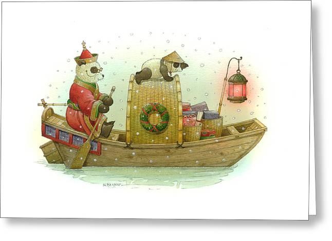 Pandabears Christmas Greeting Card by Kestutis Kasparavicius