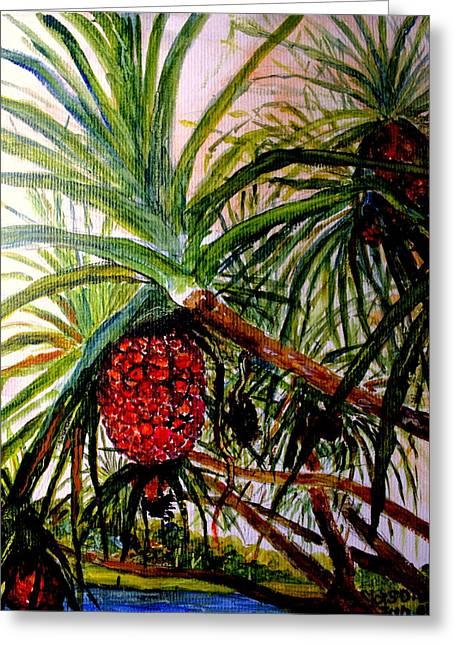 Greeting Card featuring the painting Pandanus Palm Fruit  by Jason Sentuf