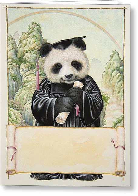 Panda's Graduation Greeting Card by Lynn Bywaters