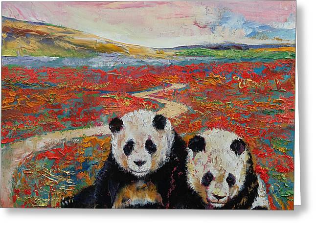 Panda Paradise Greeting Card by Michael Creese