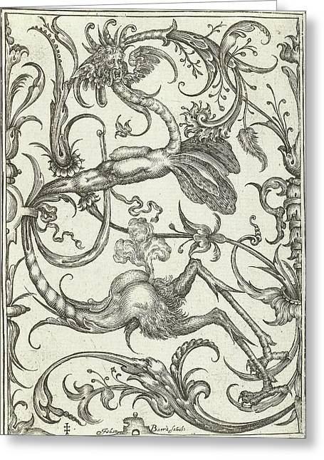 Panel With Leaf Tendrils And Dragon, Johan Barra Greeting Card by Johan Barra And Nicasius Rousseel And Wendel Dietterlin Ii