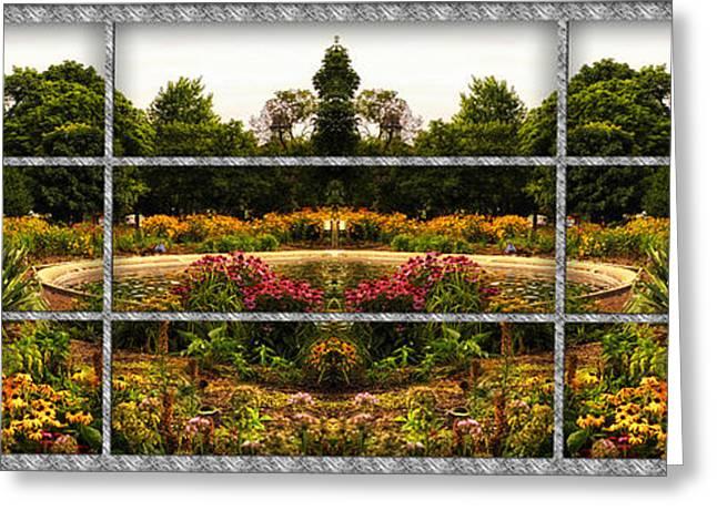 Sample Paneled Flower Garden Mirror Image Greeting Card