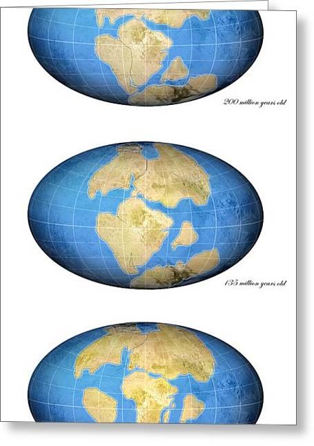 Pangea Break-up, Global Maps Greeting Card by Claus Lunau