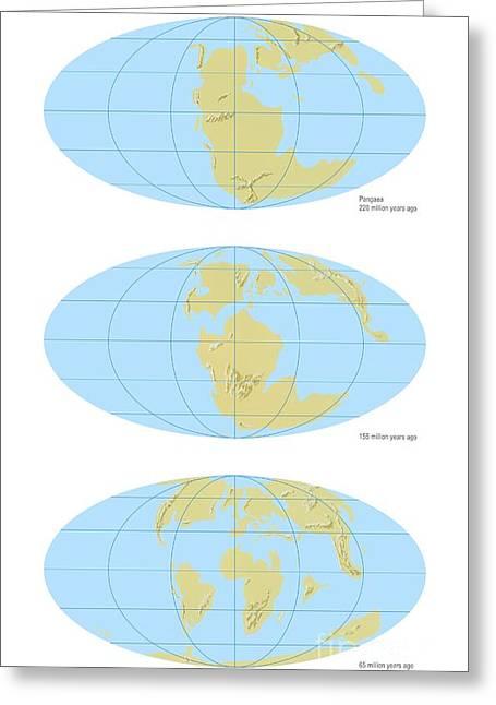 Pangea Break-up, Global Maps Greeting Card by Gary Hincks