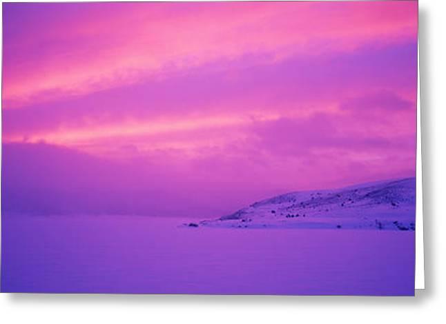 Panguitch Lake At Sunset, Utah, Usa Greeting Card by Panoramic Images