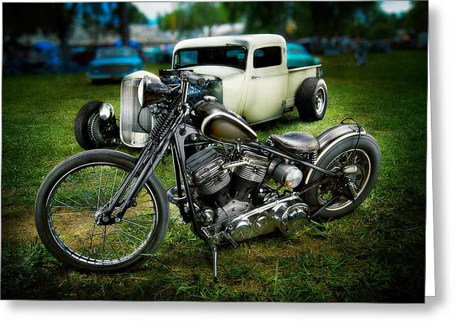 Panhead Harley And Ford Pickup Greeting Card