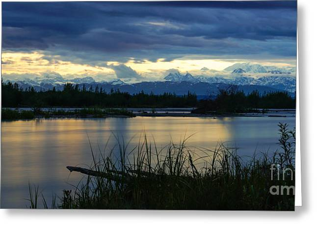 Pano Denali Midnight Sunset Greeting Card