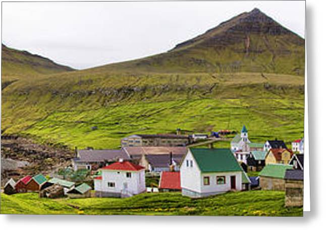 Panorama Of Gjogv Village Faroe Islands Greeting Card