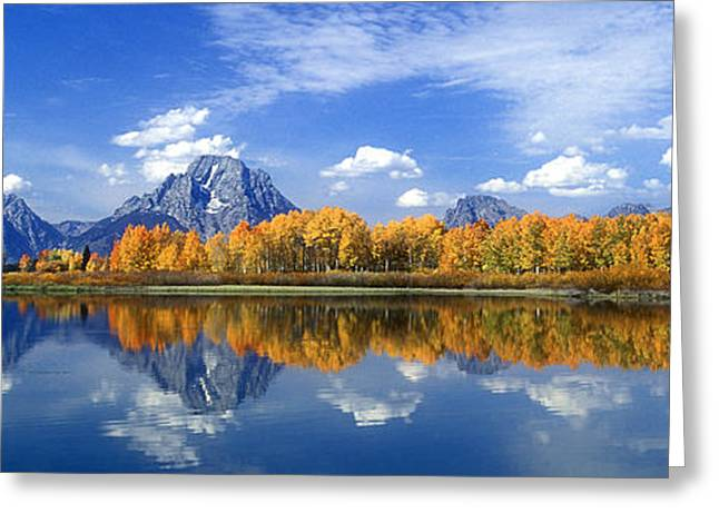 Panorama Fall Morning At Oxbow Bend Grand Tetons National Park Greeting Card