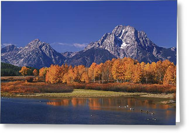 Panorama Fall Morning Oxbow Bend Grand Tetons National Park Wyoming Greeting Card