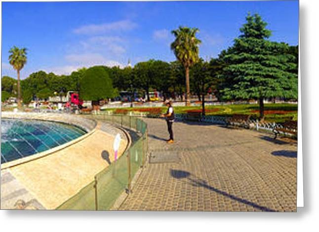 Panorama From Sultan Ahmed Park With Sultanahmet Camii Or Blue Mosque In Background Istanbul Turkey Greeting Card by Ralph A  Ledergerber-Photography