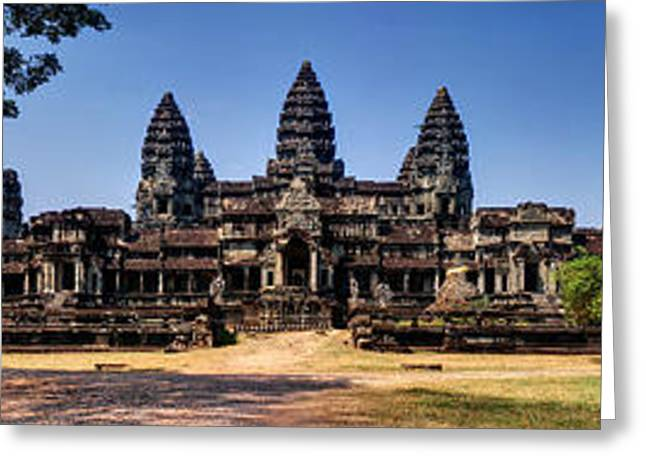 Greeting Card featuring the photograph Panorama - Hi-res - National Heritage In Angkor Wat Cambodia by Afrison Ma