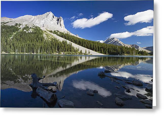 Panorama Of A Mountains Reflecting On A Greeting Card by Michael Interisano