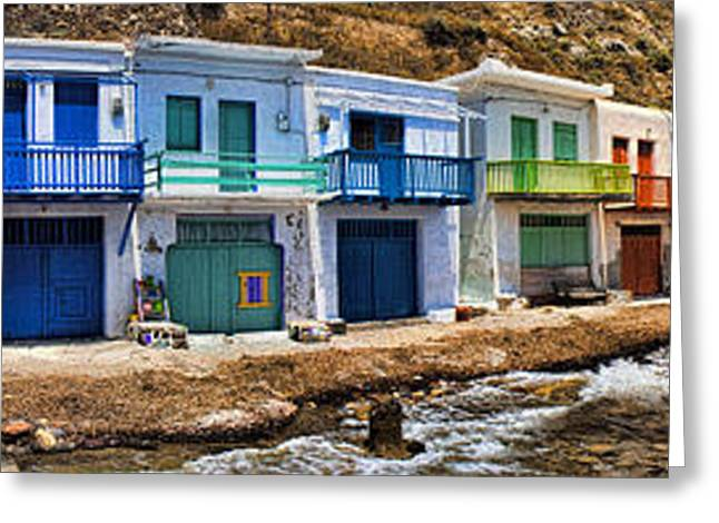 Panorama Of Tiny Colorful Fishing Huts In Milos Greeting Card by David Smith