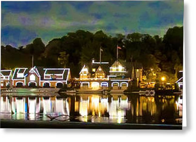 Panorama Of Boathouse Row Greeting Card by Bill Cannon