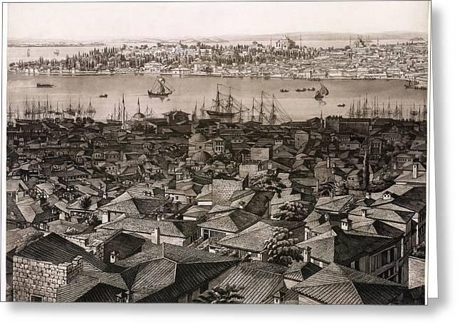Panorama Of Constantinople - 1813 Greeting Card