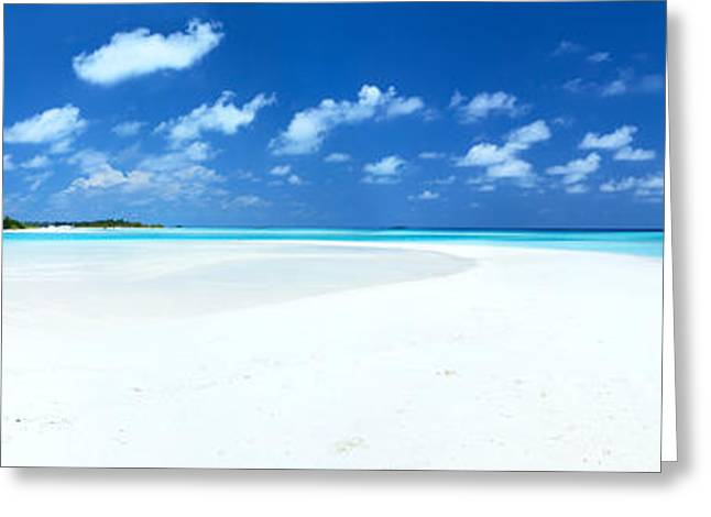 Panorama Of Deserted Sandy Beach And Island Maldives Greeting Card by Matteo Colombo