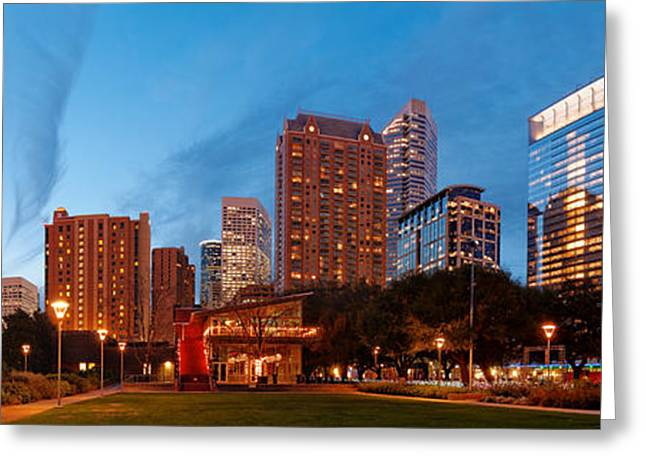 Panorama Of Discovery Green Park At Dawn - Downtown Houston Texas Greeting Card