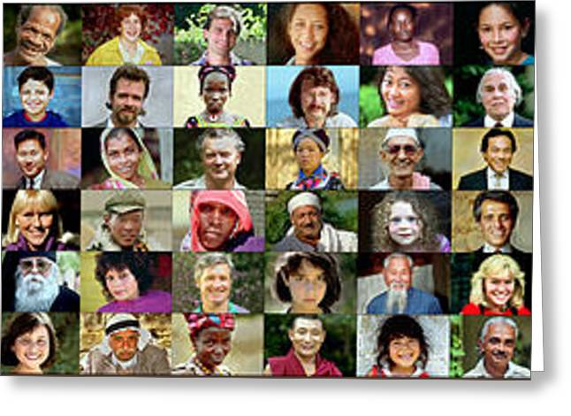 Panorama Of Diverse Faces Greeting Card
