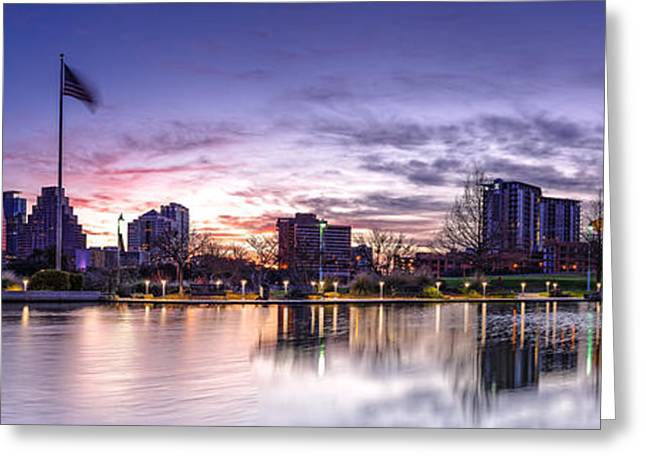 Panorama Of Downtown Austin At Dawn From The Long Center For Performing Arts - Texas Hill Country Greeting Card