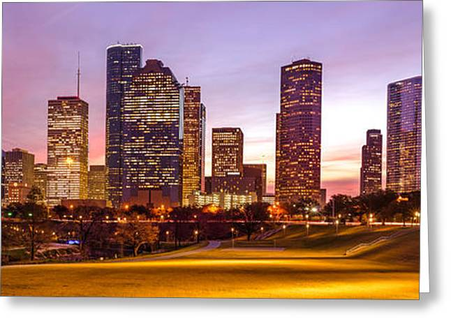Panorama Of Downtown Houston At Dawn From Eleanor Tinsley Park - Houston Texas Harris County Greeting Card by Silvio Ligutti