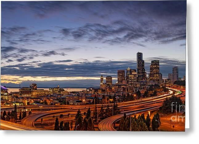 Panorama Of Downtown Seattle From Jose Rizal Park - Seattle Washington Greeting Card