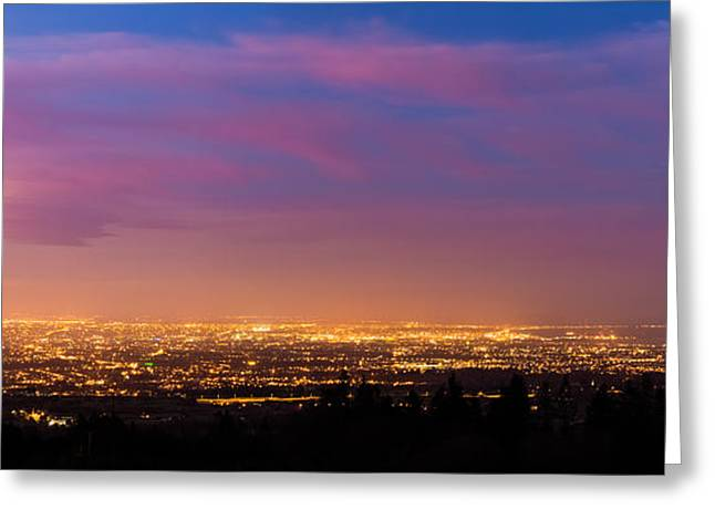 Panorama Of Dublin City At Blue Hour Greeting Card by Semmick Photo