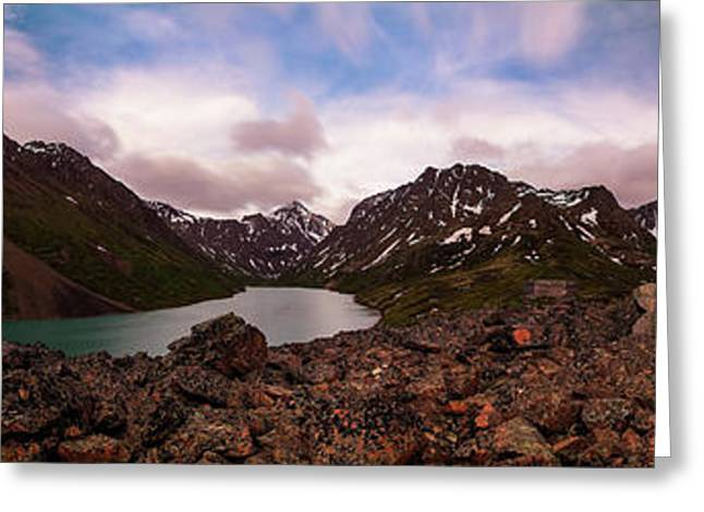 Panorama Of Eagle And Symphony Lakes Greeting Card