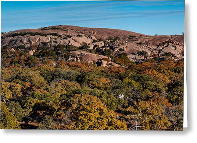 Panorama Of Enchanted Rock And Little Rock In The Fall Season - Fredericksburg Texas Hill Country Greeting Card by Silvio Ligutti