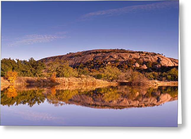 Panorama Of Enchanted Rock In The Fall From Moss Lake - Fredericksburg Texas Hill Country  Greeting Card