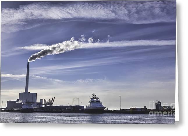 Panorama Of Esbjerg Oil Harbor Denmark Greeting Card
