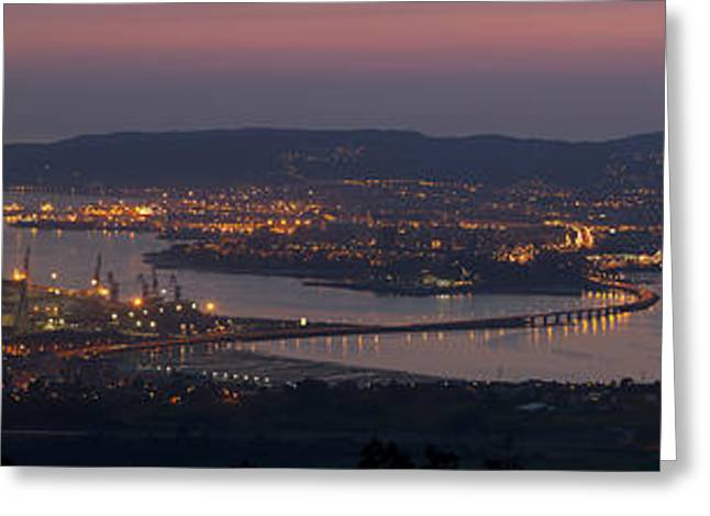 Panorama Of Ferrol From Mount Marraxon Galicia Spain Greeting Card