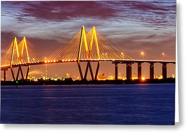 Panorama Of Fred Hartman Bridge Greeting Card