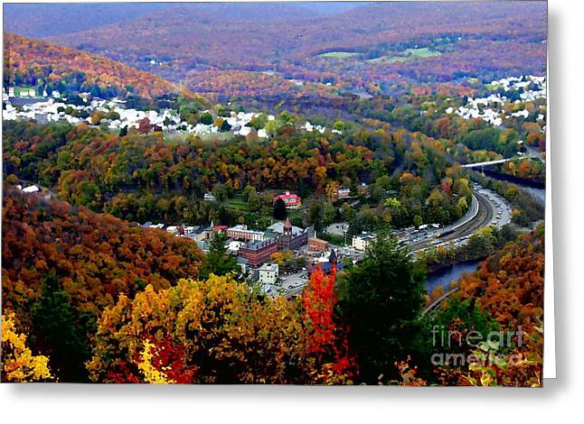 Panorama Of Jim Thorpe Pa Switzerland Of America - Abstracted Foliage Greeting Card