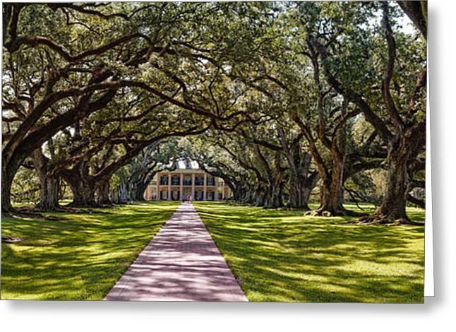 Panorama Of Oak Alley Plantation - Vacherie Louisiana Greeting Card by Silvio Ligutti