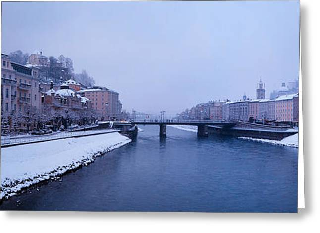 Panorama Of Salzburg In The Winter Greeting Card by Sabine Jacobs