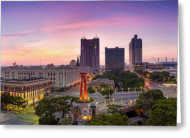 Panorama Of San Antonio Skyline - Texas Greeting Card
