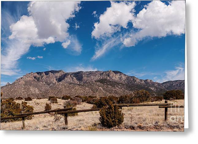 Panorama Of Sandia Mountains From Elena Gallegos Picnic Area - Albuquerque New Mexico Greeting Card by Silvio Ligutti