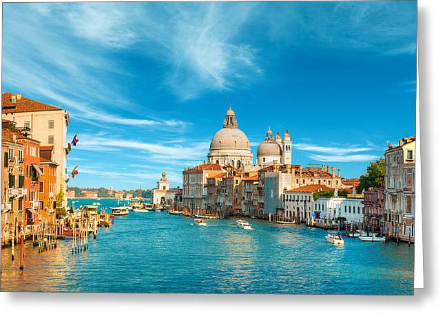 Panorama Of The Basilica Santa Maria Della Salute Greeting Card by Gurgen Bakhshetsyan