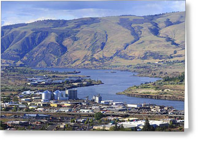 Panorama Of The Dalles Oregon. Greeting Card by Gino Rigucci