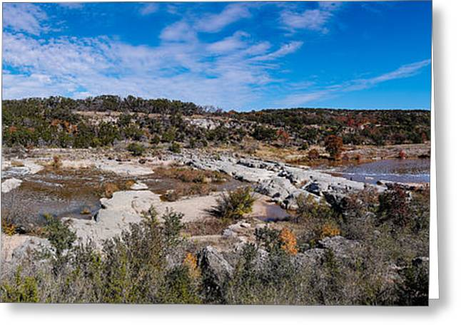Panorama Of The Mighty Pedernales River In The Fall Season - Johnson City Texas Hill Country Greeting Card by Silvio Ligutti