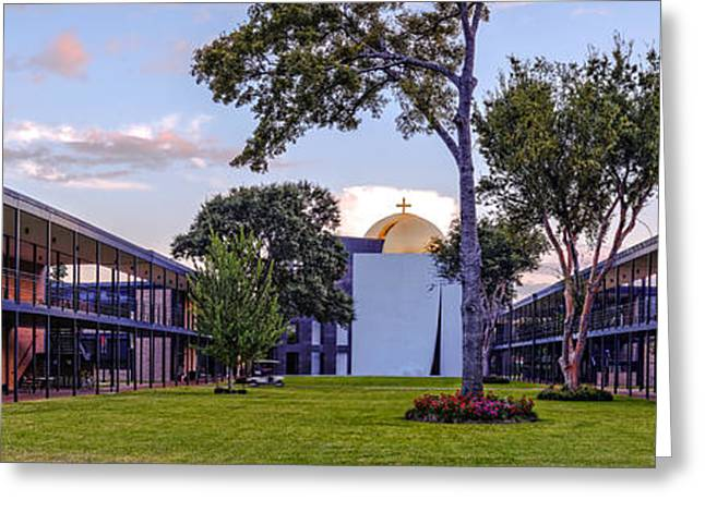 Panorama Of University St. Thomas Academic Campus - Montrose Houston Texas Greeting Card by Silvio Ligutti
