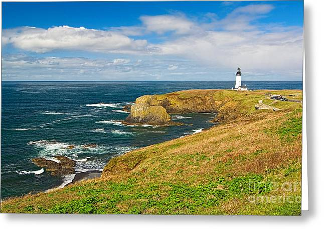 Panorama Of Yaquina Lighthouse On The Oregon Coast. Greeting Card