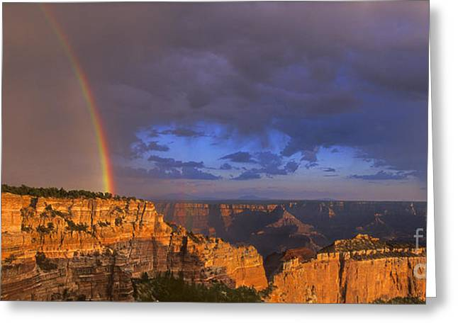 Greeting Card featuring the photograph Panorama Rainbow Over Cape Royal North Rim Grand Canyon National Park by Dave Welling