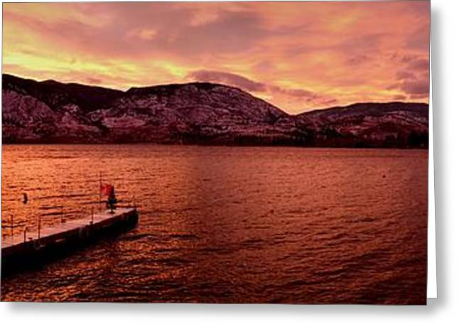 Panorama Sunset Skaha Lake Greeting Card
