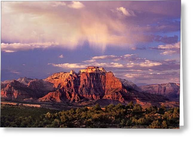 Panorama West Temple At Sunset Zion Natonal Park Greeting Card by Dave Welling