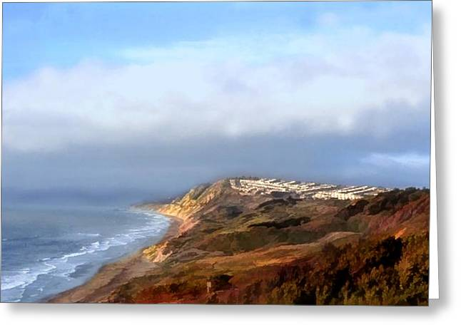 Panoramic California Coast Greeting Card by Elaine Plesser
